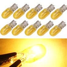 Lâmpadas de halogênio para carro, lâmpadas automotivas de cor amarela t10 w5w, 194 e 158 cunhas laterais, instrumento de lâmpada xexon 12v 5w com 10 peças lâmpada de luz de leitura clara