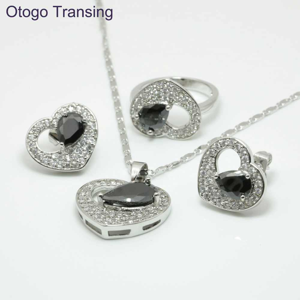 Otogo Transing 925 Sterling Silver Color Black Crystal AAA Heart Ring Pendant Necklace Earrings Jewelry Sets For Women made S210