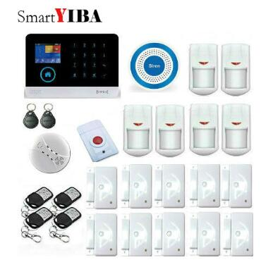 SmartYIBA Voice Prompt SMS WIFI Wireless GSM Alarm System iOS Android App APP Control Alarme Kits Panic Alarm Smoke Detection free dhl fedex ios android app remote auto dial gsm sim call sms intruder wireless house voice alarme system g15