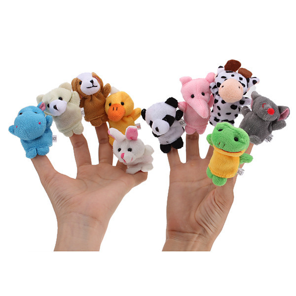 1 Set Of 10 Zoo Farm Animal Finger Puppets Plush Cloth Toys For Bed