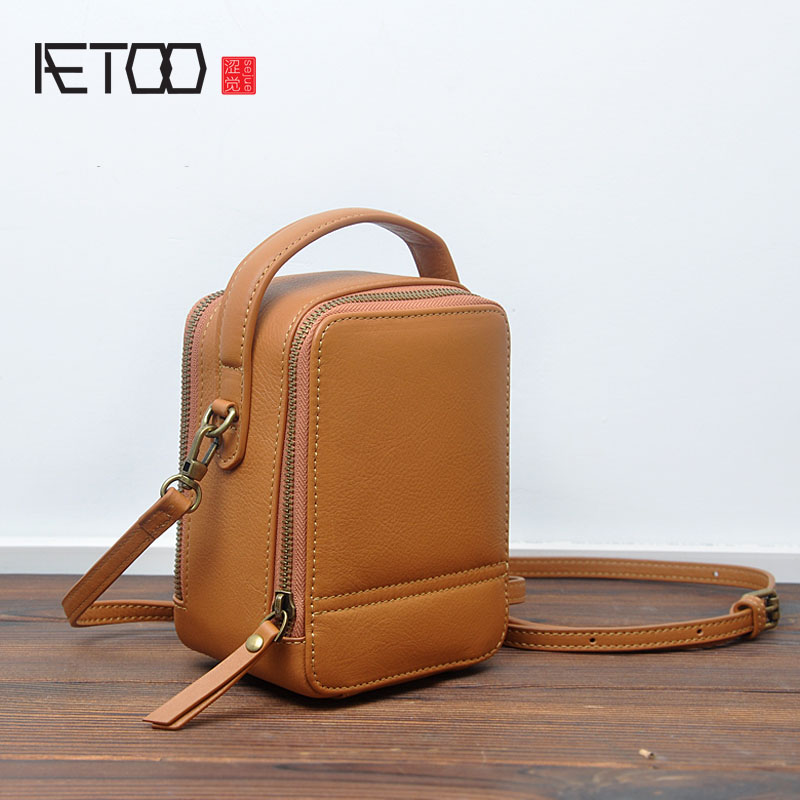 AETOO New Year first layer of leather Korean version of the box box simple personality zipper small bag leather portable Messeng aetoo first layer of leather shoulder bag female bag korean version of the school wind simple wild casual elephant pattern durab