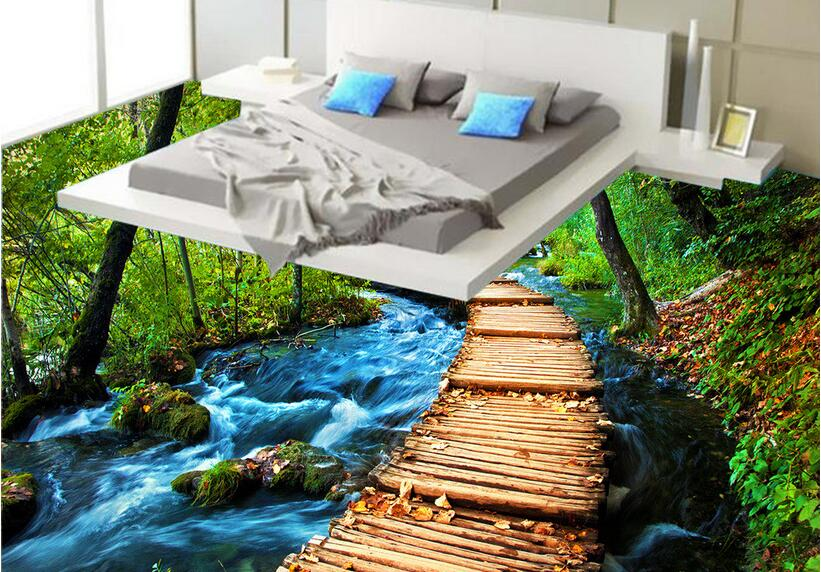 3 d pvc flooring custom wall sticker picture 3 d Jungle river bridge sitting room paintings photo 3d wall murals wallpaper flower bridge river pattern 3d wall art sticker