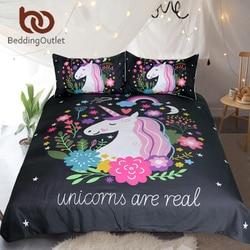 BeddingOutlet Unicorn Bedding Set Cartoon Print for Kids Duvet Cover With Pillowcases Girls Single Bed Set Floral Home Textiles