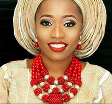 Smart Nigerian Wedding Coral Beads Jewelry Set Dubai Gold African Bridal Jewelry Sets Necklace Earring Set QW1186