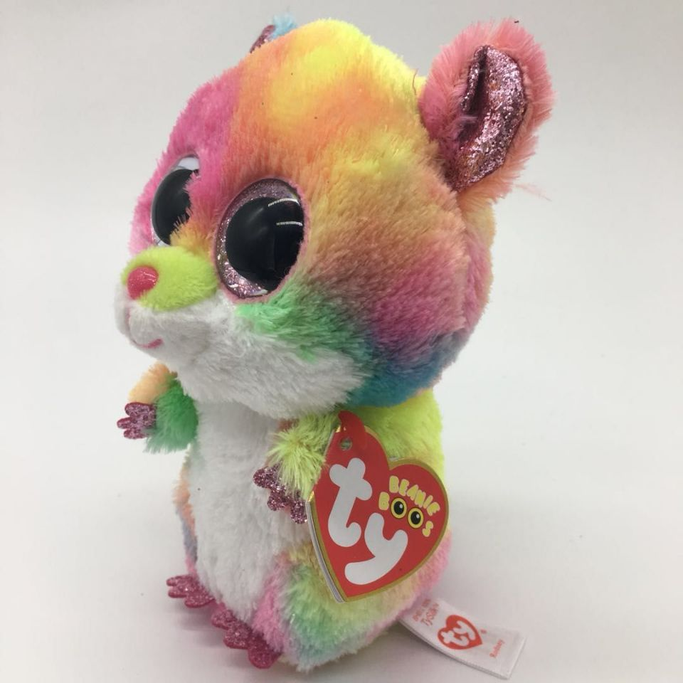 05e979cc834 RODNEY - multi colored hamster with heart tag and label mouse TY BEANIE BOOS  1PC 15CM
