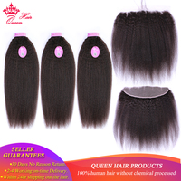 Queen Hair Products Kinky Straight Hair Bundles With Frontal Closure Brazilian Virgin Yaki Human Hair Bundle With 13x4 Frontal