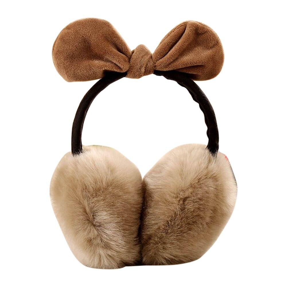 Ladies Girls Earmuffs  Bowknot Furry Ear Muffs Comfy Soft Outdoor Winter Warm Ear Covers Cycling  Warm Earmuffs 88 LXX9