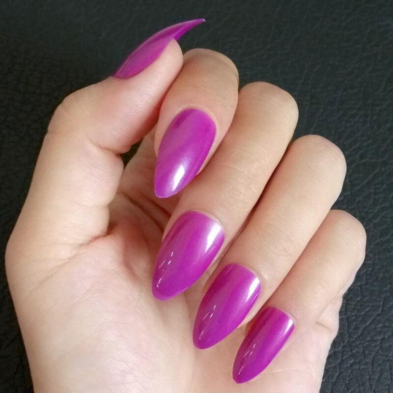 Online Shop 24Pcs Fashion Stiletto Fake Nails Dark Purple Shiny ...