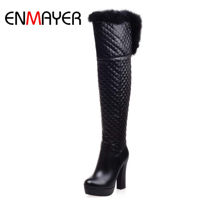 ФОТО ENMAYER New Shoes Boots Women Winter Thin High Heels Round Toe Knee High Boots Fashion Quality Showing Women Boots Size 34-39