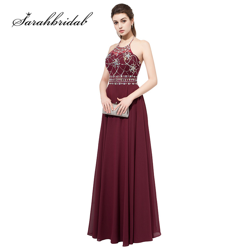 Maroon Long   Prom     Dresses   Hot Sale Sexy Backless Halter Neck Beaded Crystals Chiffon Party Evening Gowns Floor Length AJ020
