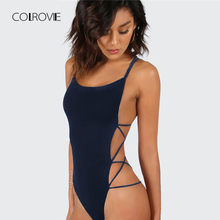 COLROVIE Strappy Backless Bodysuit Women Black Sleeveless Summer Beach Hot Bodysuits Navy Scoop Neck Cross Slim Cami Bodysuit