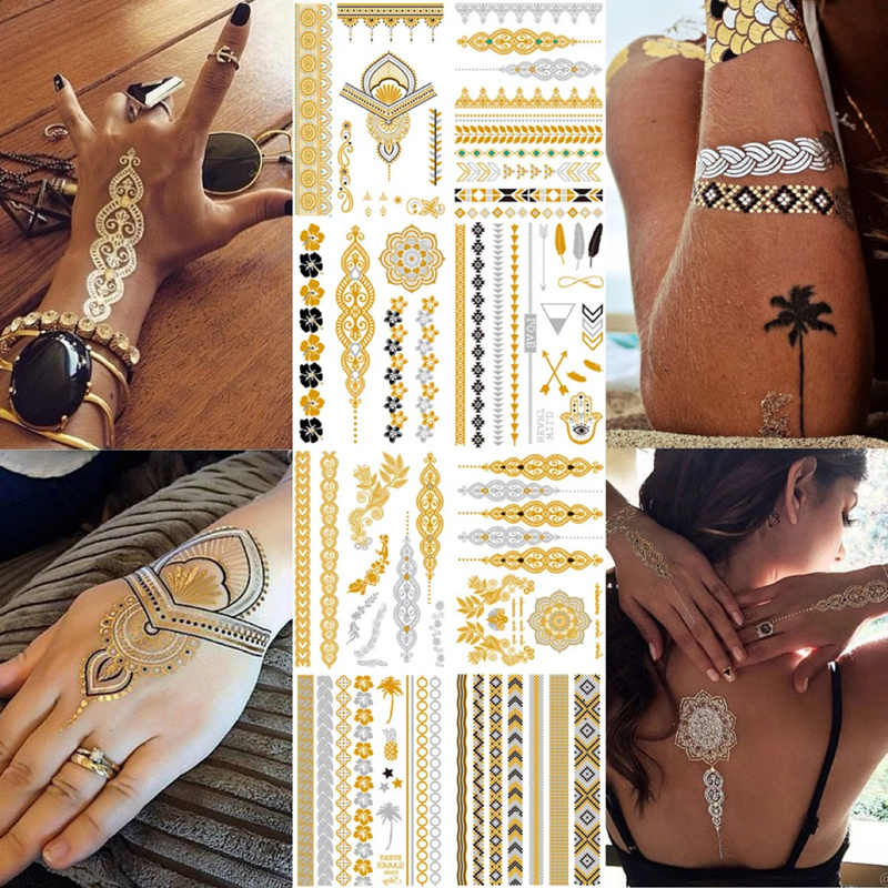 Temporary golden tattoos stickers jewelry bracelet party tattoos fashion   flash tattoo paste makeup girsl arm waterproof tattoo