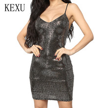 KEXU Sexy Black Spaghetti Strap Sequined Mini Dress Sleeveless Bodycon Slim Pack Hip Women Glitter Nightclub Vestidos Robe
