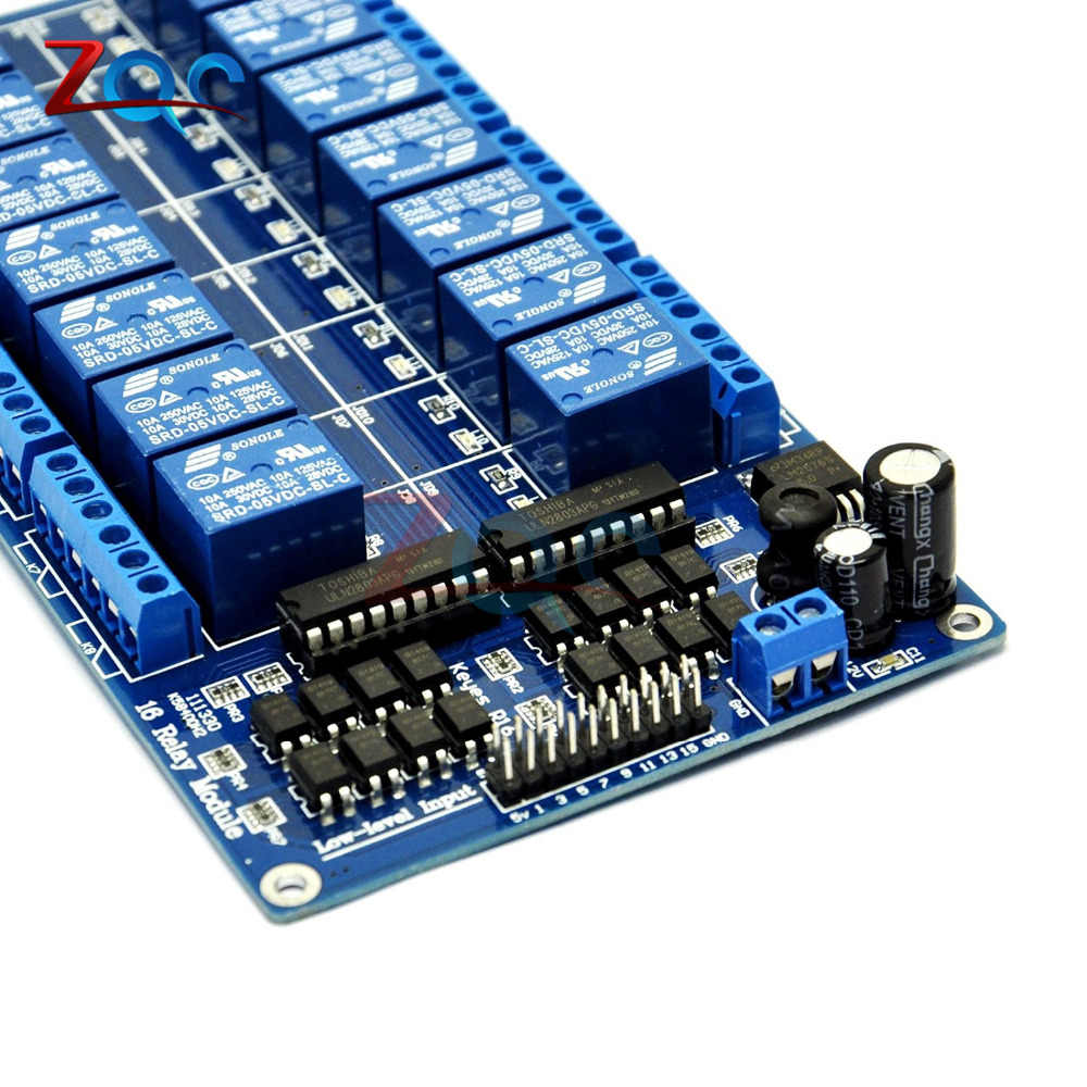 DC 5V 16 Channel Relay Module Interface Board for Arduino PIC ARM DSP PLC  With Optocoupler Protection LM2576 Power 16Channel
