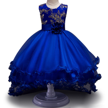 High Quality Girls Sleeveless Princess Children flower girl dress For Wedding 2-12 Years Girls Trailing Party Prom Dresses