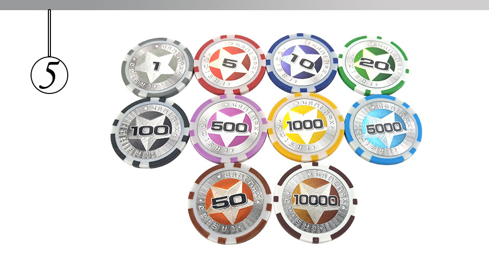 Easytoday 25Pcsset Plastic Poker Chips Set Clay Baccarat High Texas Hold'em Standard Entertainment Games Chips  (5)