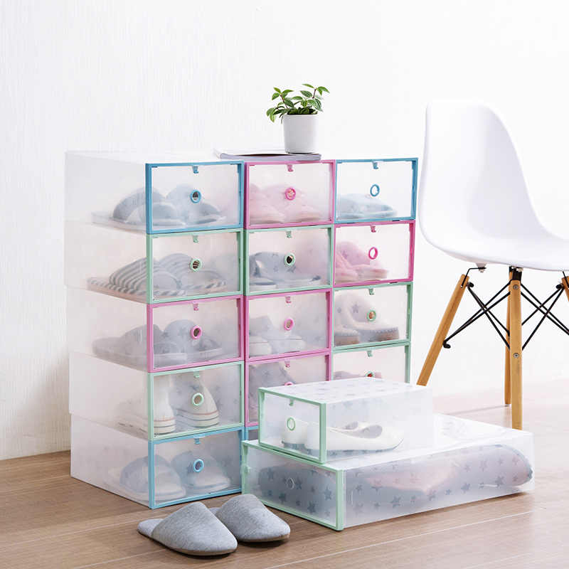 Slipper Shoe Organizer Drawer Transparent Plastic Shoe Storage Box Rectangle Easy Assembly Shoes Organizer Drawer Shoe Boxes