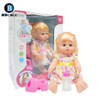 BDCOLE 15inches Floral Pattern Dressing Long Hair Reborn Baby Girl Doll Can Feed Dress Up And