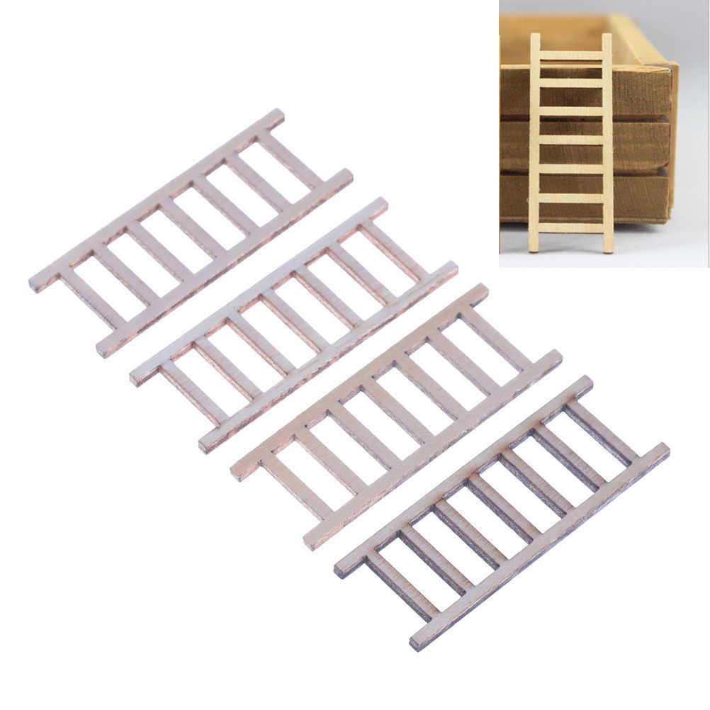 4 adet 2*6cm bebek evi minyatür ahşap portatif merdiven mobilya araçları peri bahçe dekor