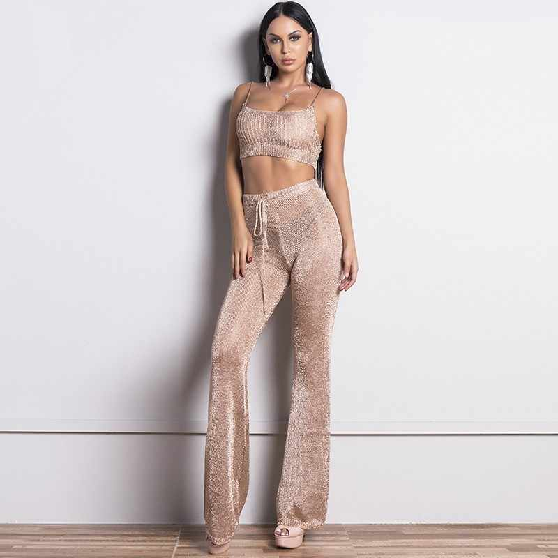 Glitter Rose Gold Bodycon Cropped Fashion 2 Piece Set Women Suit Two Piece Set Top And Pants Suspender Backless Elegant Suits