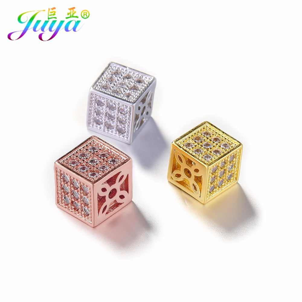 DIY Metal Beads Supplies Micro Pave Zircon AAA Cubic Zirconia Square Copper Beads Accessories For Beadwork Jewelry Making
