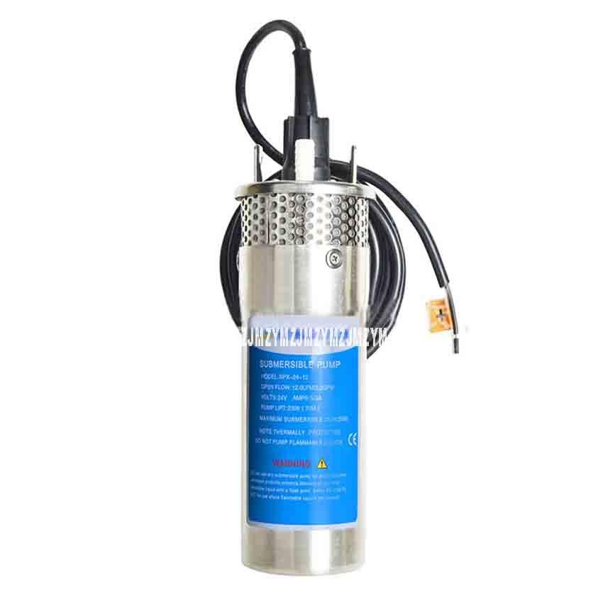 SPX-24-12 24 V 12L acier inoxydable solaire pompe Submersible haut débit haute-ascenseur puits profond DC Micro pompe à eau 12L/min 1/2 pouces 100 M