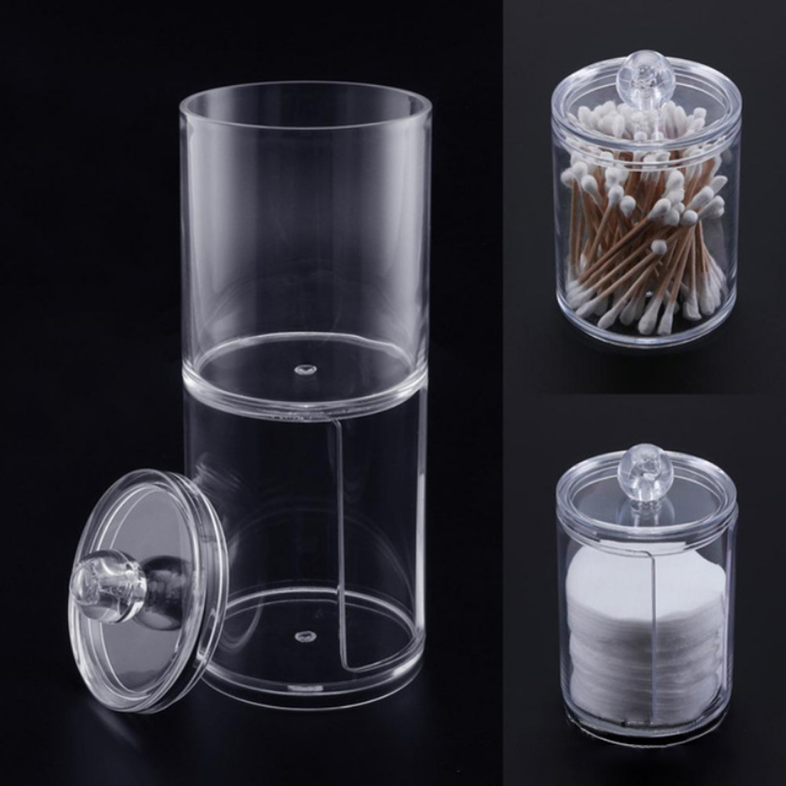 1 Layers Clear Acrylic Cotton Swab Organizer Box Portable Cosmetics Round Container Makeup Pad Storage Case Makeup Tools