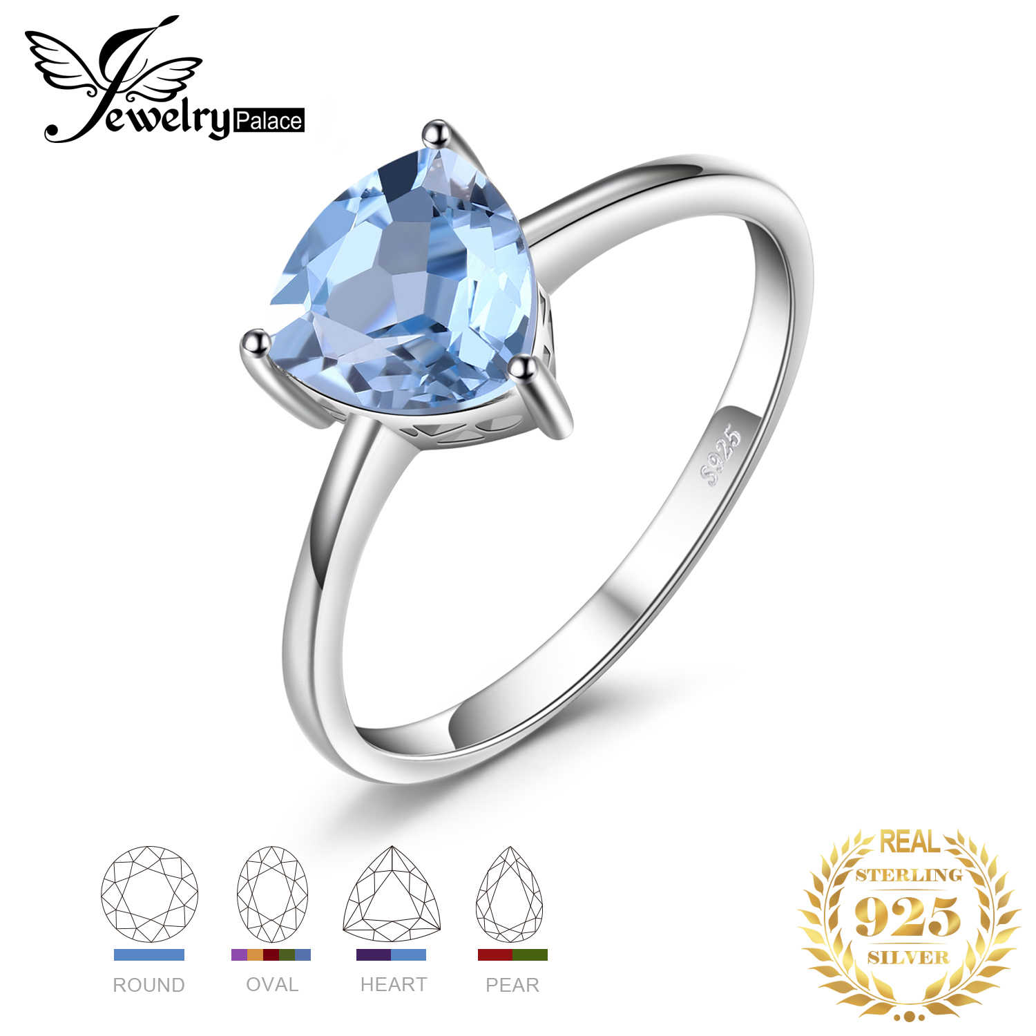 JewelryPalace Trillion 1.5ct Natural Blue Topaz Garnet Amethyst Citrine Peridot Birthstone 925 Sterling Silver Engagement Rings