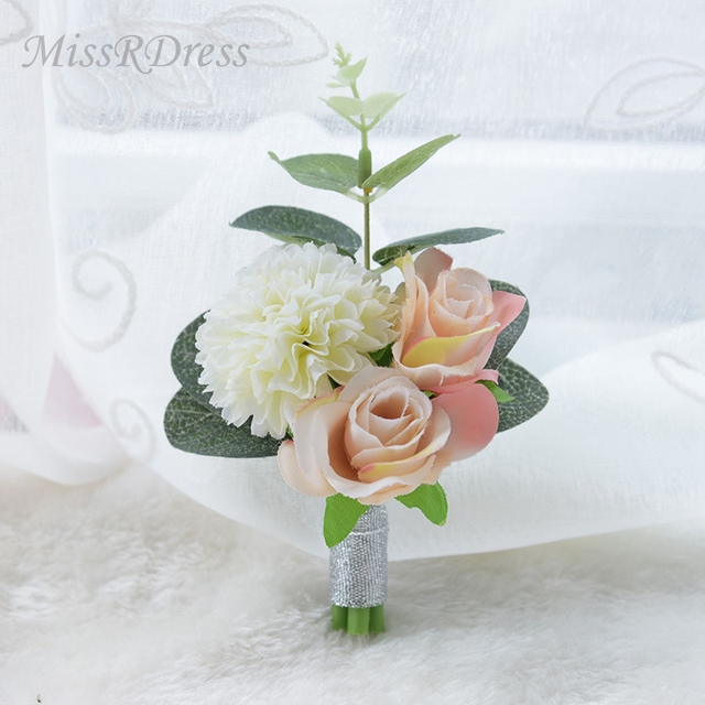 Missrdress Wedding Prom Boutonniere Handmade Groom Corsage Brooch Champagne Groomsmen Boutnniere For Accessories Jkx2
