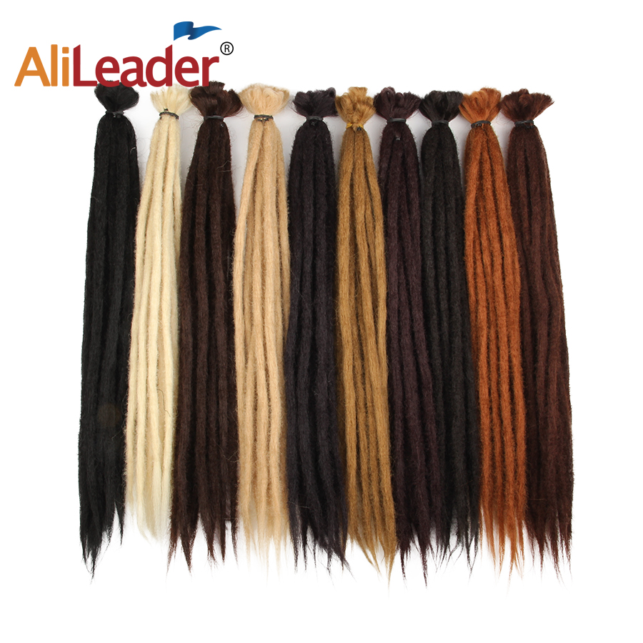 Alileader 20Inch Synthetic Handmade Dreadlocks 1 Root Braiding Hair Dreads Hair Extension Black Blonde Brown Color Crochet Braid