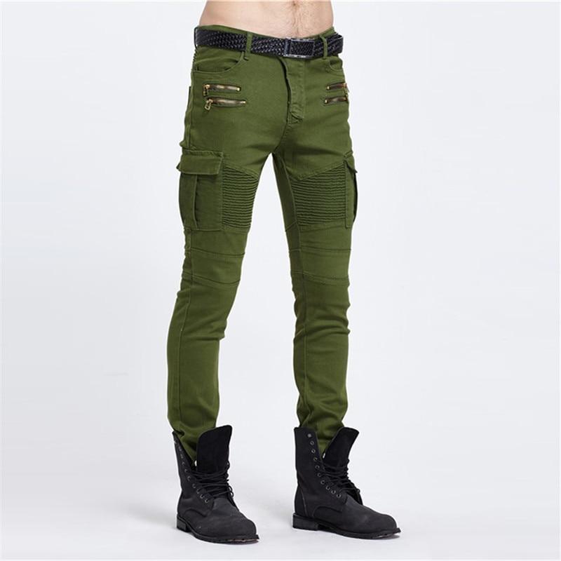 Biker Jeans Punk Style Cargo Pocket Jeans Skinny Men Famous Brand Mens Designer Clothes Zipper Denim Pants Army Green Black  pocket