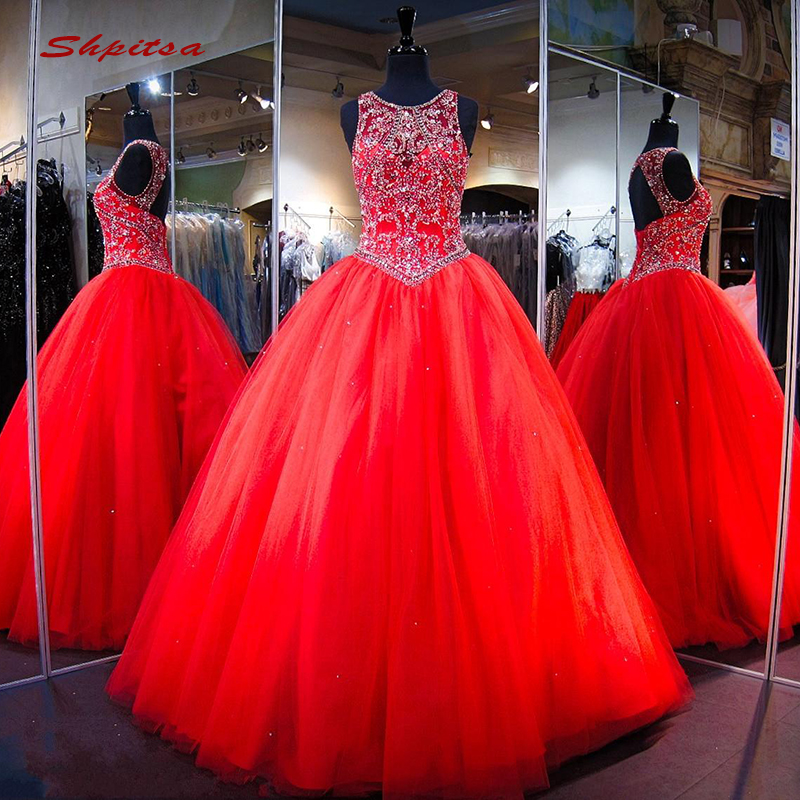 Red Luxury Quinceanera Dresses Ball Gown Sequin Crystals Tulle Prom Debutante Sixteen Sweet 16 Dress Vestidos De 15 Anos