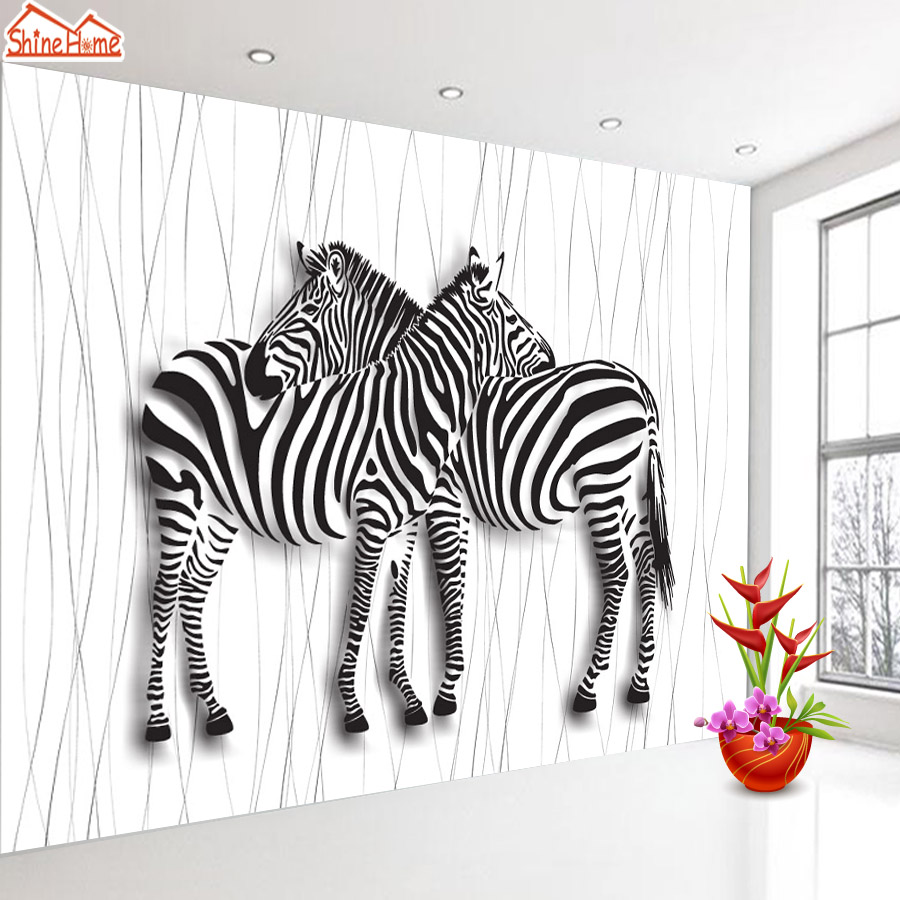 ShineHome-3d Room Wallpaper Black and White Zebra Strips Wallpapers 3d for Walls 3 d Livingroom Wallpapers Mural Roll Paper shinehome sunflower bloom retro wallpaper for 3d rooms walls wallpapers for 3 d living room home wall paper murals mural roll