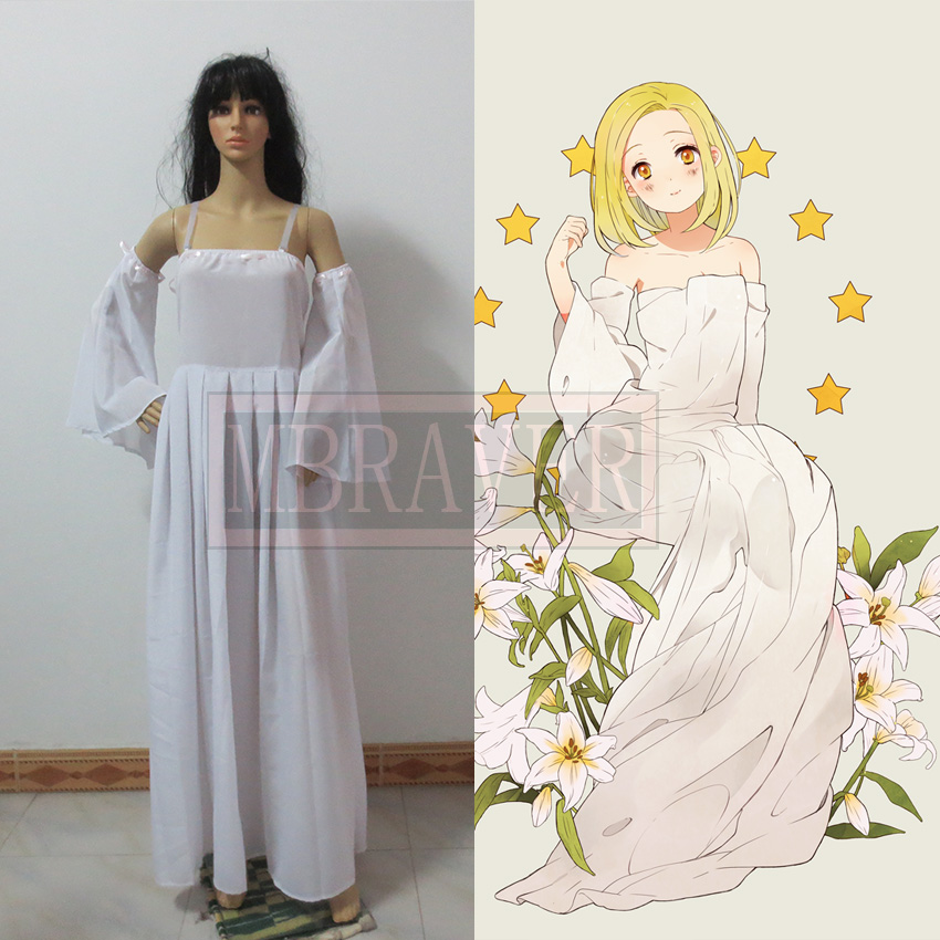 Anime The Seven Deadly Sins Elaine Cosplay Costume White Lolita Long Chiffon Dress