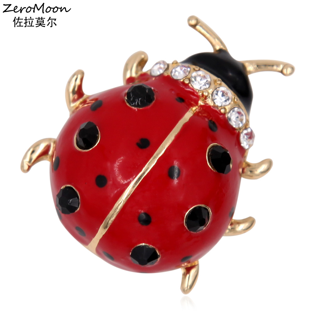 Adorable Enamel Ladybug Brooch Pin Metal Animal Crystal Rhinestone Women Garment Fashion Jewelry 2016