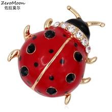 Adorable Enamel Ladybug Brooch Pin Metal Animal Crystal Rhinestone Women Garment Fashion Jewelry 2016