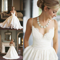 Spaghetti Strap Wedding Dresses 2019 vestido de noiva Lace Top Bridal Wedding Party Dress Plus Size robe de mariee Bridal Gowns