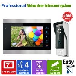 Homefong Control de acceso de puerta 7 Pantalla LCD Video timbre puerta teléfono 1200TVL cámara de seguridad intercomunicador imagen/grabación de vídeo