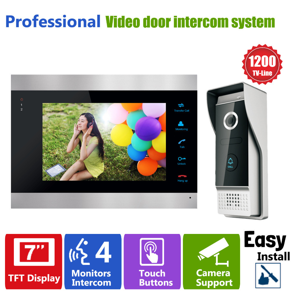 Homefong Door Access Control 7'' LCD Display Video Doorbell Door Phone 1200TVL Security Camera Intercom Picture/Video Recording