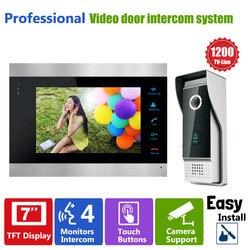 Porta Controle de Acesso Homefong 7 Display LCD Vídeo Campainha de Telefone Da Porta Câmera de Segurança 1200TVL Interfone Foto/Gravação de Vídeo