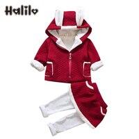 Halilo New Baby Girl Clothes Set Winter Warm Coat Pants 2pcs Girls Clothing Sets Infant Baby