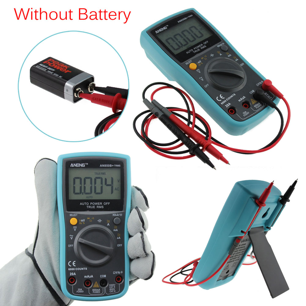New Digital TRMS Multimeter AC DC Ohm Voltmeter Temperature Auto Range Ammeter 6000Counts With Backlight mastech ms8268 digital multimeter auto range protection ac dc ammeter voltmeter ohm frequency electrical tester diode detector