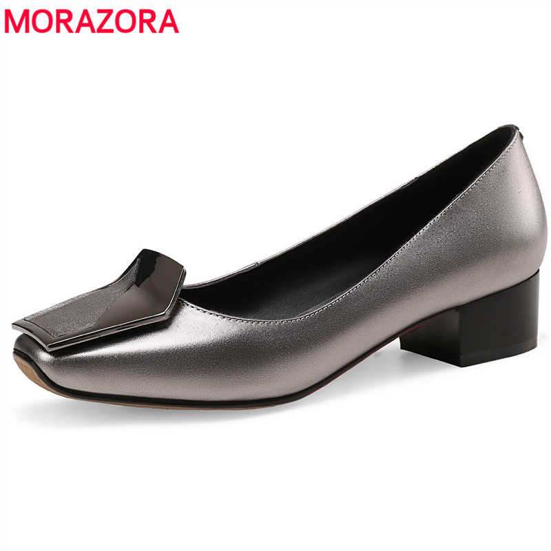 MORAZORA Plus size 34 43 Genuine leather shoes women pumps slip on high quality gun color