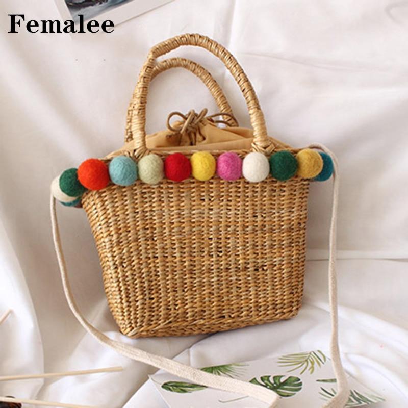 FEMALEE Tassel Summer Straw Shoulder Box Retro Boho Bohemian Bag Handwoven Pacakage Beach Straw Messenger Bags With Pom Poms beige tassel detail straw shoulder bags