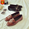 2016 New Retro Genuine Leather Shoes Women Flat Shoes loafers Ladies Oxford Fashion Boat Shoes
