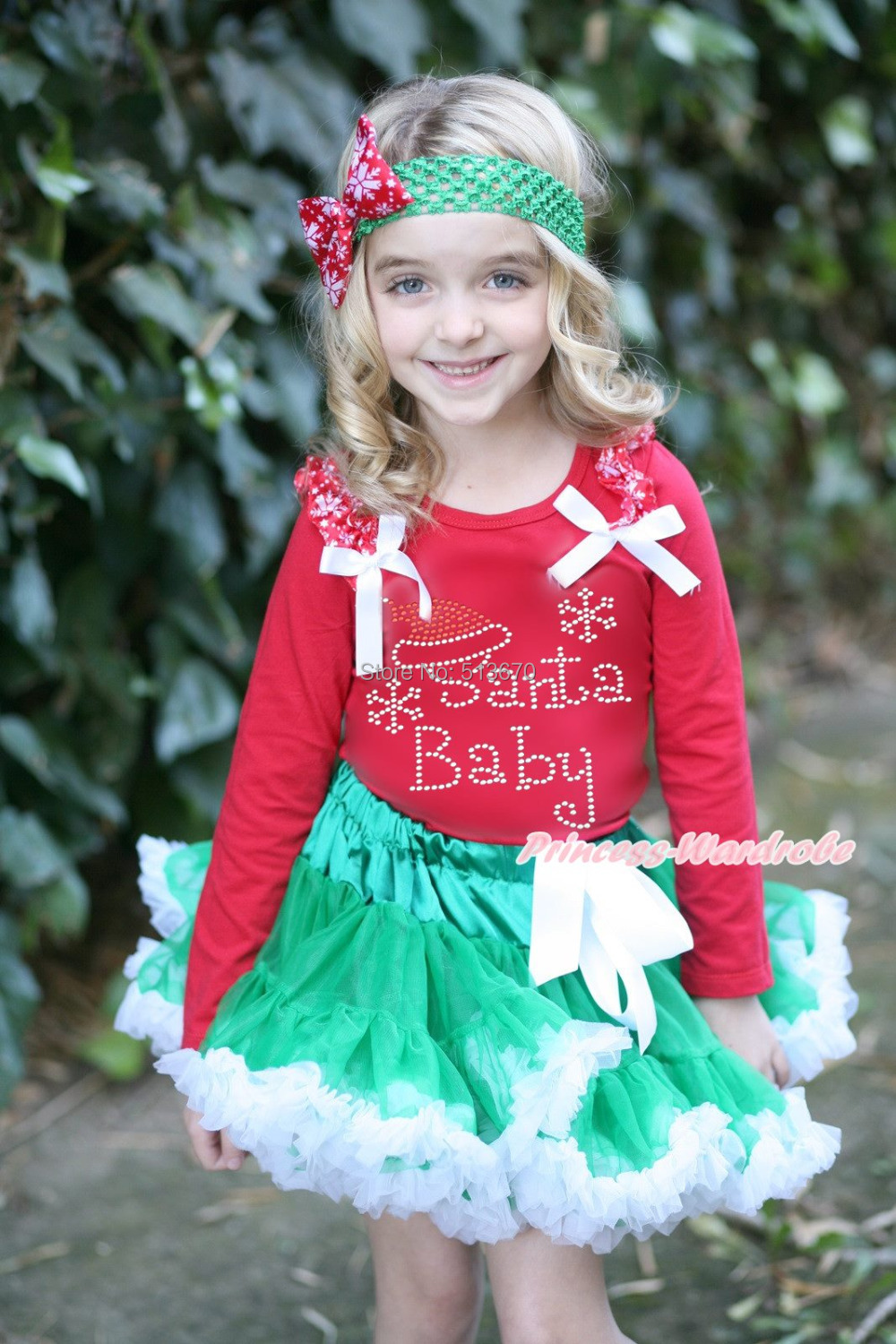 XMAS Rhinestone Baby Santa Print Red Top Green White Pettiskirt Girl Outfit 1-8Y MAMG213 цена и фото