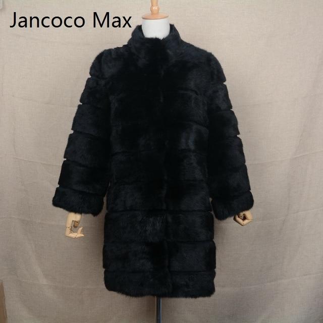 Jancoco Max 2017 New Winter Real Rabbit Fur Jacket Warm Soft Long Fur Coat Women Christmas Dress S1675