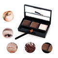 Professional Eye Shadow Eye Brow Makeup 3 Color Eyebrow Powder + Eyebrow Wax Palette + Brush