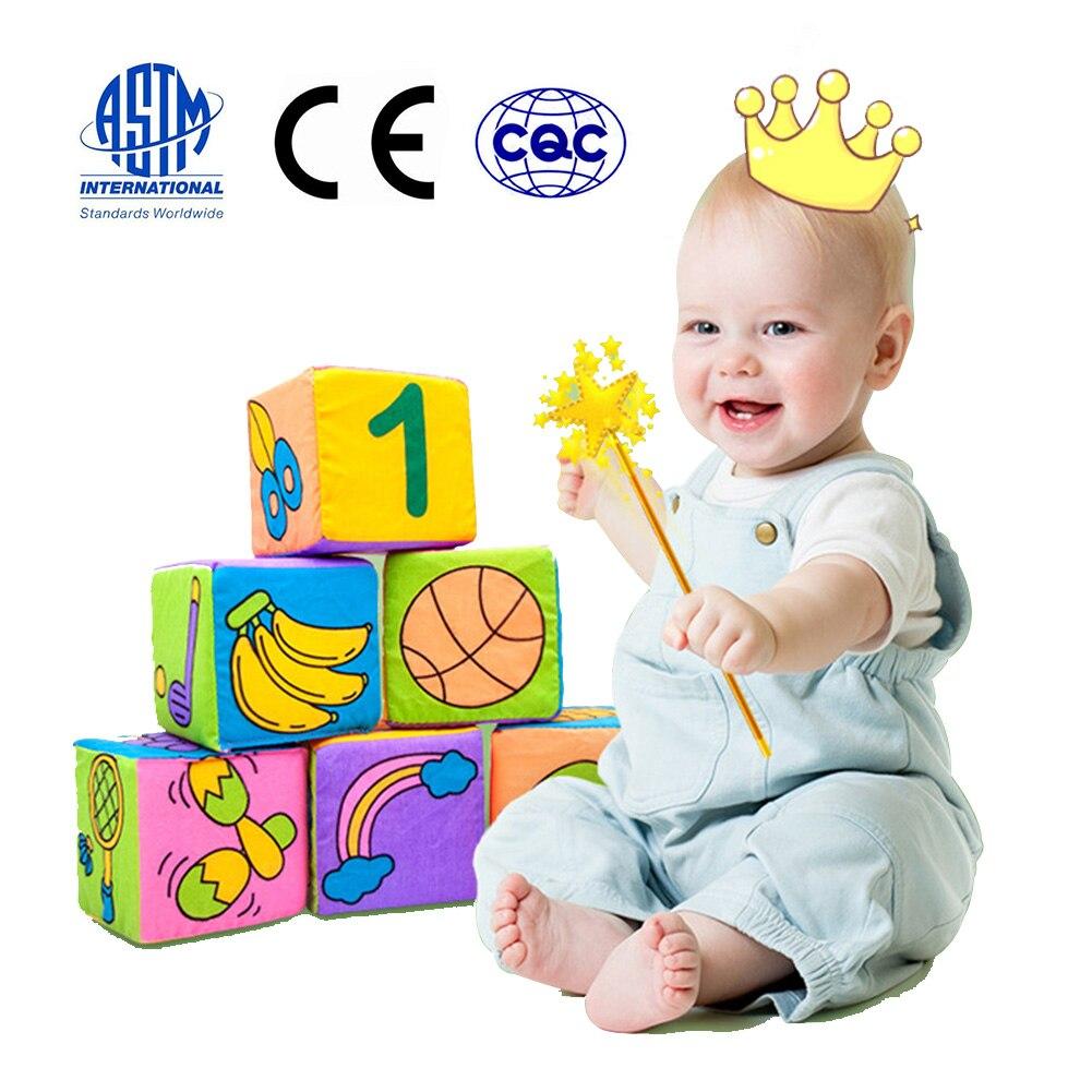 6PCS Blocks Toys Plush Soft Stuffed Blocks 0-12 Months Baby Educational Toys