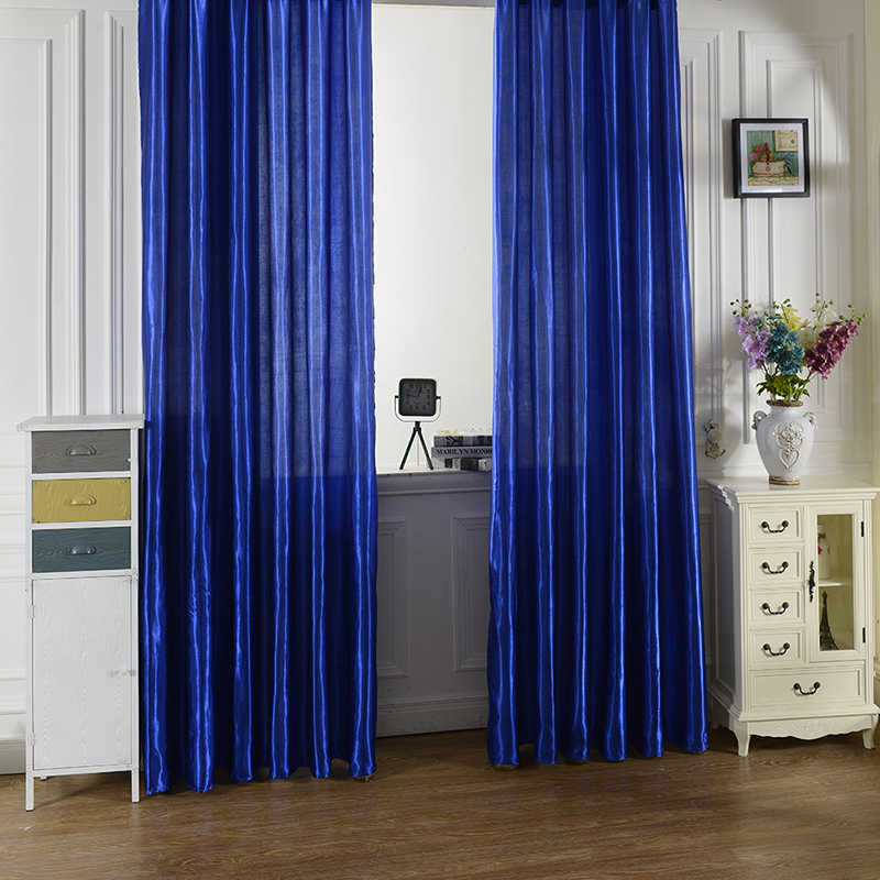 hot sale 100 x 200cm rod pocket top solid color satin curtain panel window curtains